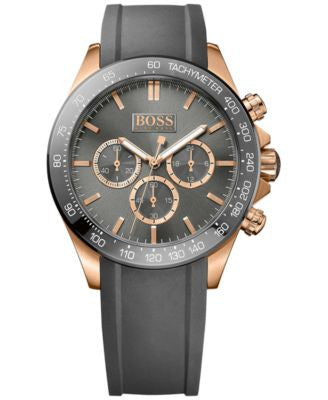 BOSS Hugo Boss Men's Chronograph Ikon Gray Silicone Strap Watch 44mm 1513342
