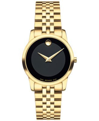 Movado Women's Swiss Museum Classic Gold PVD Stainless Steel Bracelet Watch 28mm 0607005
