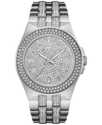 Bulova Men's Pavé Crystal Stainless Steel Bracelet Watch 42mm 96B235