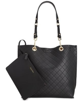 Calvin Klein Medium Quilted Reversible Tote with Pouch