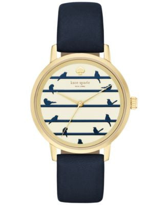 kate spade new york Women's Metro Navy Leather Strap Watch 34mm KSW1022
