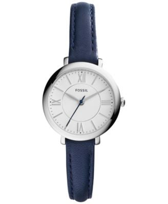 Fossil Women's Jacqueline Blue Leather Strap Watch 26mm es3935