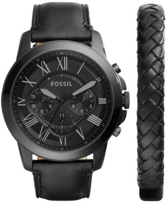 Fossil Men's Chronograph Grant Black Leather Strap Watch & Bracelet Box Set 45mm FS5147SET