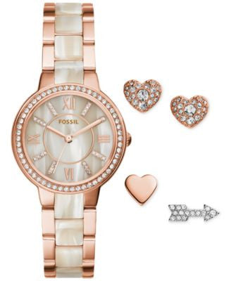 Fossil Women's Virginia Rose Gold-Tone Stainless Steel & Shimmer Horn Bracelet Watch & Stud Earrings