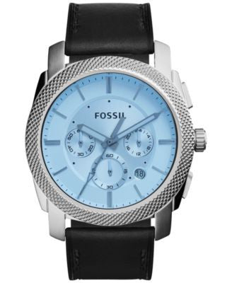 Fossil Men's Chronograph Machine Black Leather Strap Watch 45mm FS5160