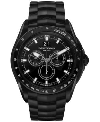 Emporio Armani Men's Swiss Chronograph Sport Black Ion-Plated Stainless Steel Bracelet Watch 44mm AR