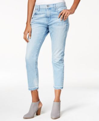 7 For All Mankind Cropped Raw-Hem Light Blue Wash Jeans