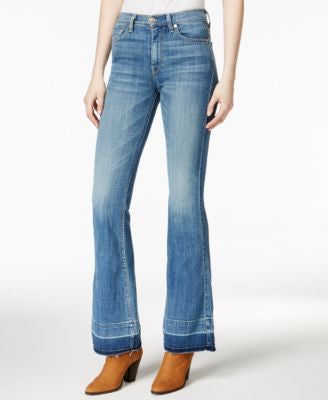 7 For All Mankind Ginger Released-Hem Medium Blue Wash Flared Jeans