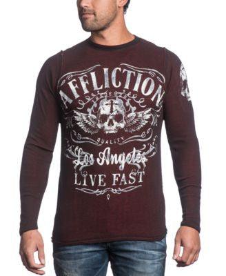 Affliction Men's Davey Jones Reversible Thermal Long Sleeve Shirt