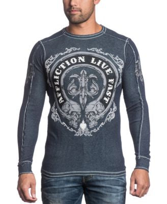 Affliction Men's Live Fast Thermal Reversible Long Sleeve Shirt