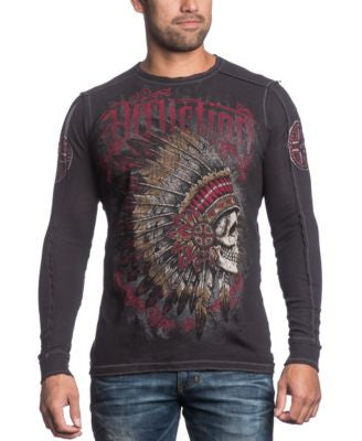 Affliction Men's Reversible Thermal Peace Pipe Long Sleeve Shirt