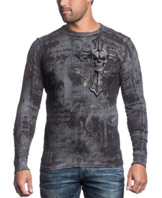 Affliction Men's Reversible Thermal Thy Hunted Long Sleeve Shirt