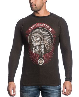 Affliction Men's Reversible Thermal Thunderfoot Long Sleeve Shirt
