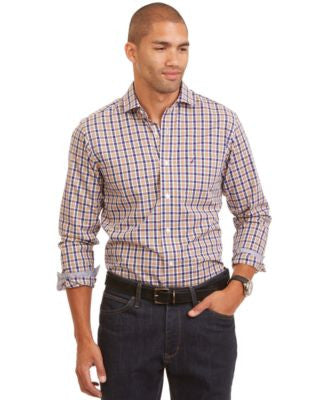 Nautica Big and Tall Long Sleeve Poplin Plaid Casual Shirt