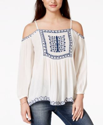 American Rag Embroidered Off-the-Shoulder Peasant Blouse, Only at Vogily