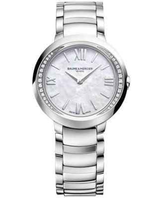 Baume & Mercier Women's Swiss Promesse Diamond (1/6 ct. t.w.) Stainless Steel Bracelet Watch M0A1016