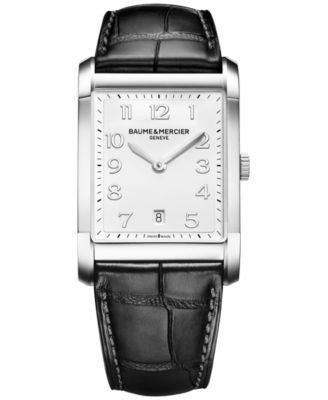 Baume & Mercier Men's Swiss Hampton Black Leather Strap Watch 42x29mm M0A10154