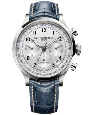 Baume & Mercier Men's Swiss Automatic Chronograph Capeland Blue Leather Strap Watch 44mm M0A10063
