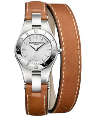 Baume & Mercier Women's Swiss Linea Brown Double Wrap Leather Strap Watch 27mm M0A10036