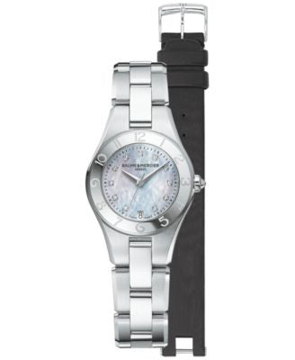 Baume & Mercier Women's Swiss Linea Diamond Accent Stainless Steel Bracelet Watch with Interchangeab