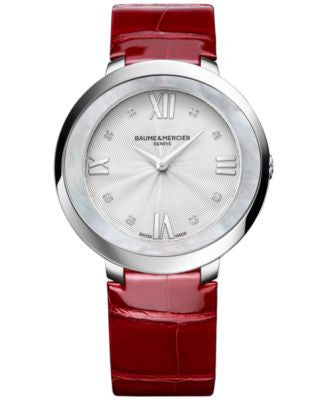 Baume & Mercier Women's Swiss Promesse Diamond Accent Red Leather Strap Watch 34mm M0A10262