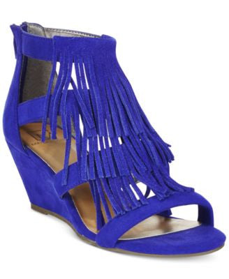 Material Girl Hannah Demi-Wedge Fringe Sandals, Only at Vogily