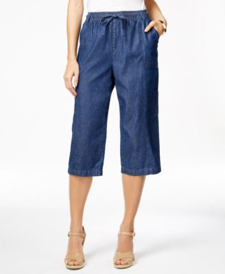 Karen Scott Drawstring-Waist Denim Capri Pants, Only at Vogily