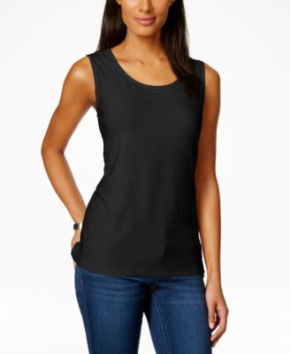 JM Collection Petite Textured Jacquard Tank Top, Only at Vogily