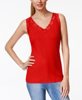 Karen Scott Lace-Trim Tank Top, Only at Vogily
