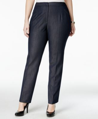 Tahari ASL Plus Size Straight-Leg Denim Trousers