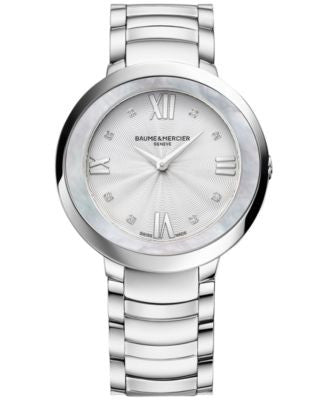 Baume & Mercier Women's Swiss Promesse Diamond Accent Stainless Steel Bracelet Watch 34mm M0A10178