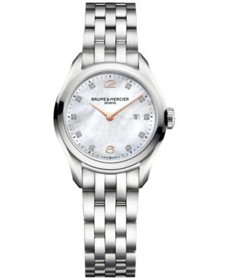 Baume & Mercier Women's Swiss Clifton Diamond Accent Stainless Steel Bracelet Watch 30mm M0A10176