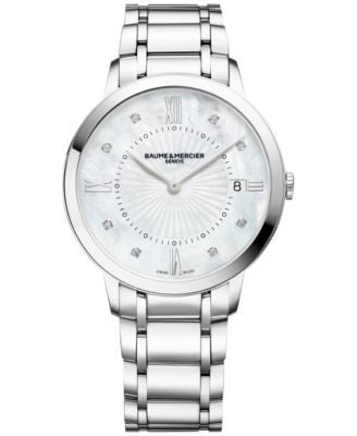 Baume & Mercier Women's Swiss Classima Diamond Accent Stainless Steel Bracelet Watch 37mm M0A10225