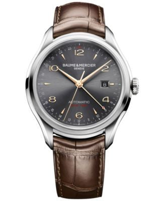 Baume & Mercier Men's Swiss Automatic Clifton Brown Leather Strap Watch 43mm M0A10111