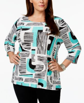 JM Collection Plus Size Geo-Print Jacquard Top, Only at Vogily