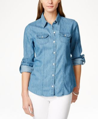 Charter Club Denim Utility Shirt, Only at Vogily