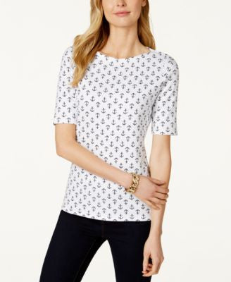 Charter Club Petite Elbow-Sleeve Anchor-Print T-Shirt, Only at Vogily