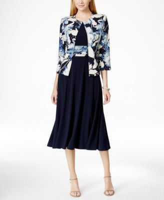 Jessica Howard Floral-Print Sequin Jacket and Dress