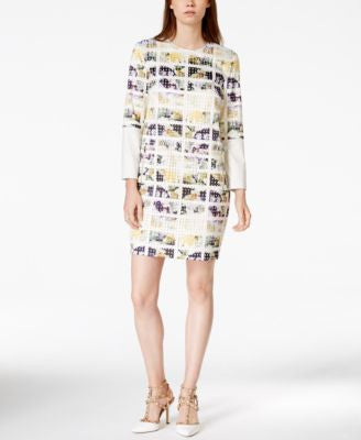 RACHEL Rachel Roy Printed Faux-Leather Sleeve Shift Dress