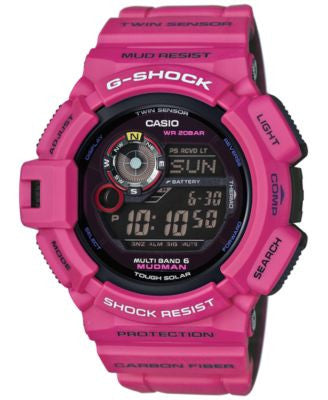 G-Shock Men's Digital Mudman Dark Pink Bracelet Watch 53x50mm GW9300SR-4