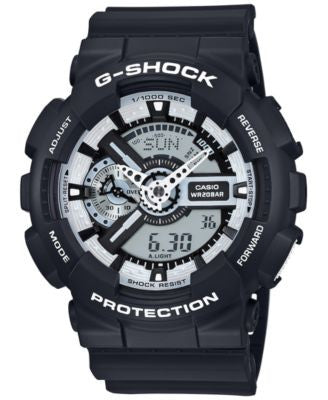 G-Shock Men's Analog-Digital Black and White Black Bracelet Watch 55x51mm GA110BW-1A