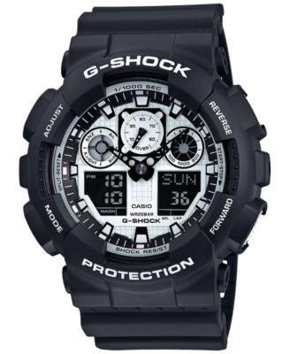 G-Shock Men's Analog-Digital Black and White Black Bracelet Watch 55x51mm GA100BW-1A