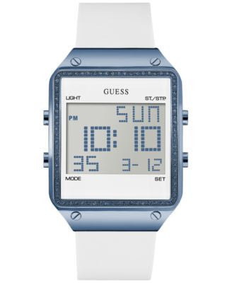 GUESS Women's Digital White Silicone Strap Watch 55x38mm U0700L3
