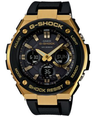 G-Shock Men's Analog-Digital Black and Gold Black Silicone Strap Watch 59x52 GSTS100G-1A