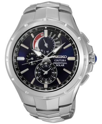 Seiko Men's Chronograph Coutura Stainless Steel Bracelet Watch 44mm SSC375