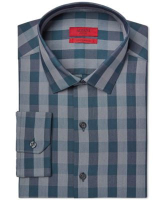 Alfani Fitted Performance Dark Teal Oversized Gingham Dress Shirt, Only at Vogily