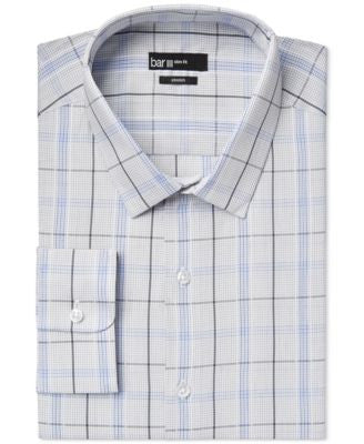 Bar III Slim-Fit Deep Blue Modern Plaid Dress Shirt, Only at Vogily
