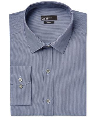 Bar III Slim-Fit Deep Blue Stripe Dress Shirt, Only at Vogily
