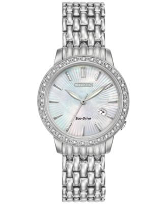 Citizen Women's Eco-Drive Diamond Accent Stainless Steel Bracelet Watch 29mm EW2280-58D