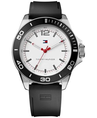 Tommy Hilfiger Men's Black Silicone Strap Watch 48mm 1790920